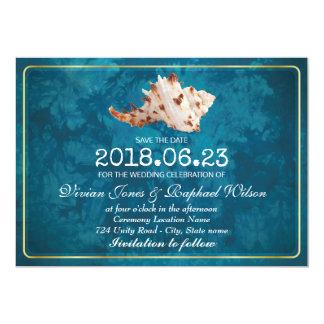 "Fashion Blue Shell Beach Wedding Save The Date Car 5"" X 7"" Invitation Card"