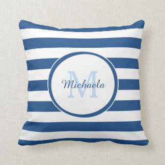 Fashion Candy Stripes Monogram and Name in Blue Throw Pillow