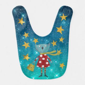 Fashion Cat Shiny Stars Stripes Gold Baby Baby Bibs