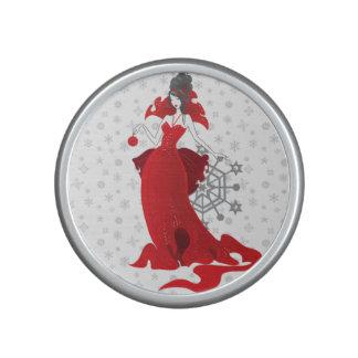 Fashion Christmas stylish red gray illustration Bluetooth Speaker