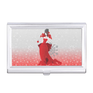 Fashion Christmas stylish red gray illustration Business Card Case