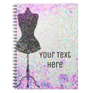 Fashion Confetti Mannequin Modern Personalized Notebooks