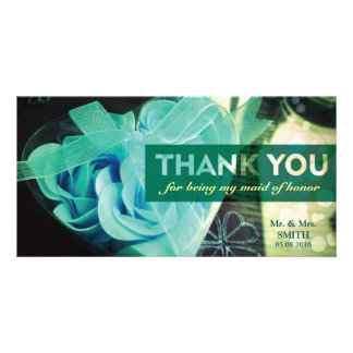 Fashion Cordate Rose Bridesmaid Thank You Card Photo Card