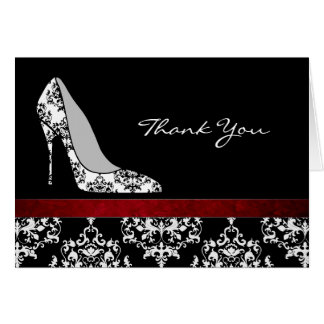 Fashion Damask Stiletto Thank You Card