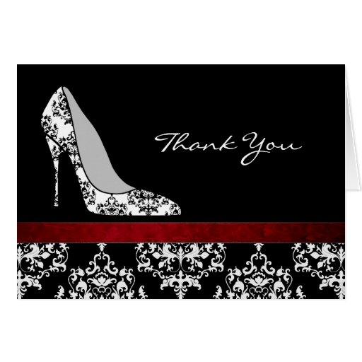Fashion Damask Stiletto Thank You Card