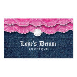 Fashion Denim Jeans Lace Jewellery Pink Business Card Template