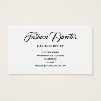 Fashion Director in Vintage Black and White Business Card