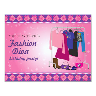 Fashion Diva Birthday Party Card