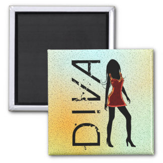 Fashion Diva in Red Dresss Custom Square Magnets
