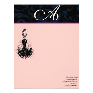 Fashion Diva Pink Raspberry Monogram Damask Letterhead