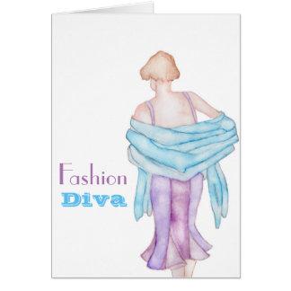 Fashion Diva watercolour greeting card