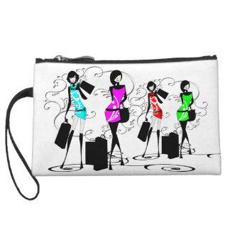 Fashion divas french girls shopping wristlet purse