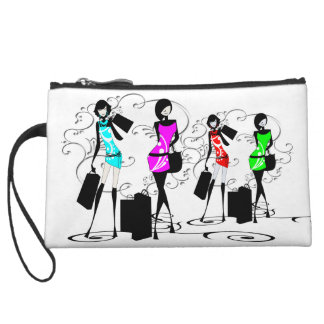 Fashion divas french girls shopping wristlet purse