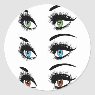 Fashion Eyes in Three Colors Classic Round Sticker