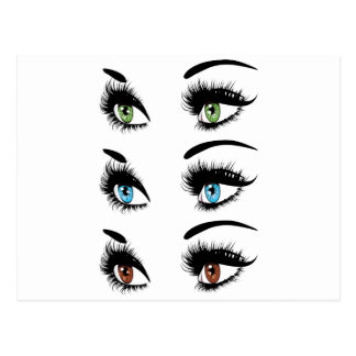 Fashion Eyes in Three Colors Postcard