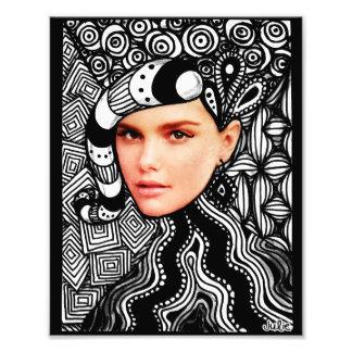 Fashion Face Zentangle Photo Print