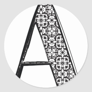 Fashion font, Letter A Classic Round Sticker