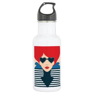 Fashion french stylish fashion chic illustration 532 ml water bottle