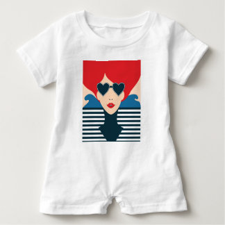 Fashion french stylish fashion chic illustration baby romper