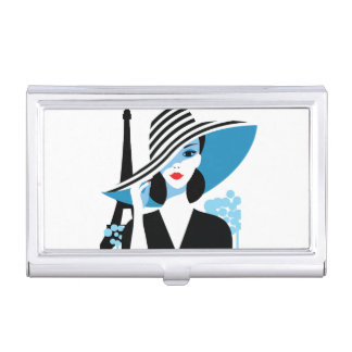 Fashion french stylish fashion chic illustration business card holder