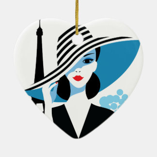 Fashion french stylish fashion chic illustration ceramic heart ornament
