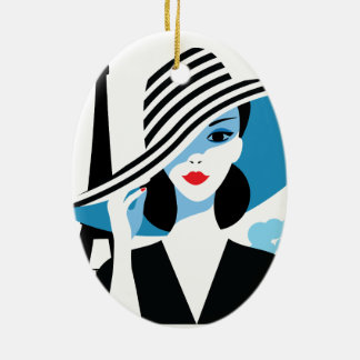 Fashion french stylish fashion chic illustration ceramic oval ornament