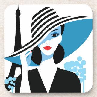 Fashion french stylish fashion chic illustration drink coasters