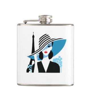Fashion french stylish fashion chic illustration hip flask