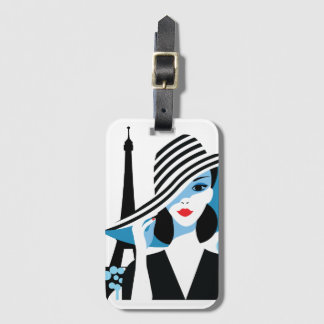 Fashion french stylish fashion chic illustration luggage tag