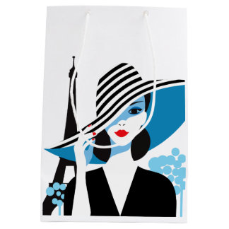 Fashion french stylish fashion chic illustration medium gift bag