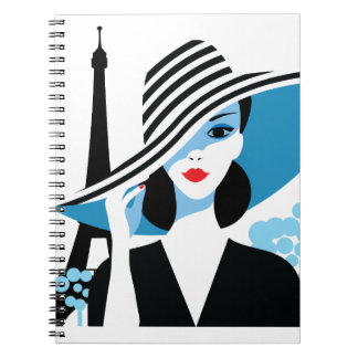 Fashion french stylish fashion chic illustration notebook