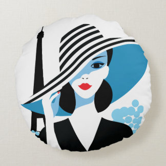 Fashion french stylish fashion chic illustration round pillow