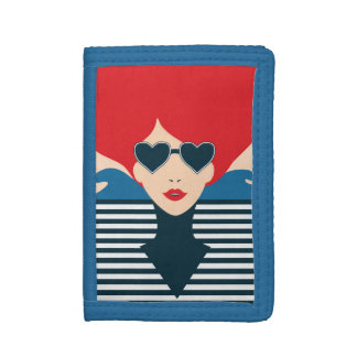 Fashion french stylish fashion chic illustration tri-fold wallets