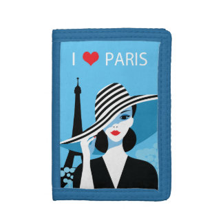 Fashion french stylish fashion chic illustration trifold wallets