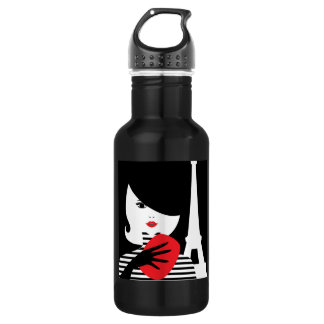 Fashion french stylish fashion illustration 532 ml water bottle