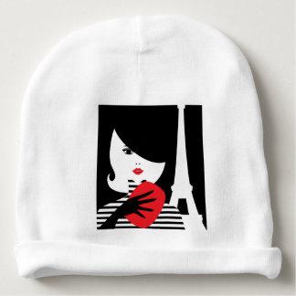 Fashion french stylish fashion illustration baby beanie