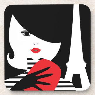 Fashion french stylish fashion illustration beverage coaster