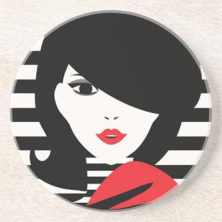 Fashion french stylish fashion illustration beverage coasters