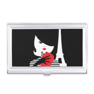 Fashion french stylish fashion illustration business card holder