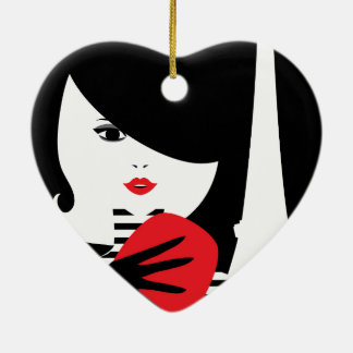 Fashion french stylish fashion illustration ceramic heart ornament
