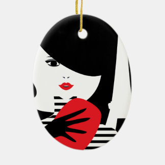 Fashion french stylish fashion illustration ceramic oval ornament