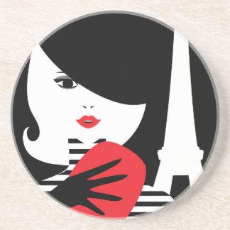Fashion french stylish fashion illustration drink coaster