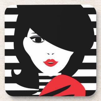 Fashion french stylish fashion illustration drink coasters