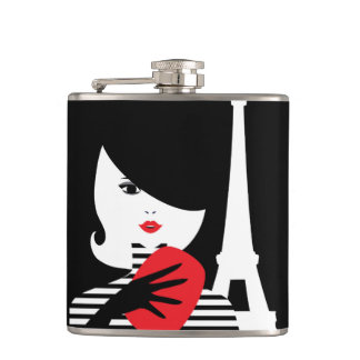 Fashion french stylish fashion illustration hip flask