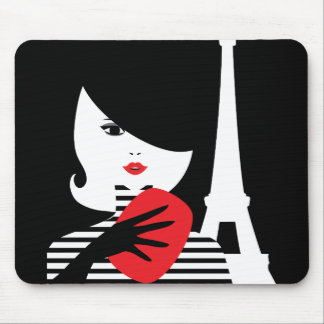 Fashion french stylish fashion illustration mouse pad