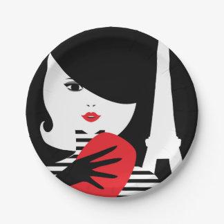 Fashion french stylish fashion illustration paper plate
