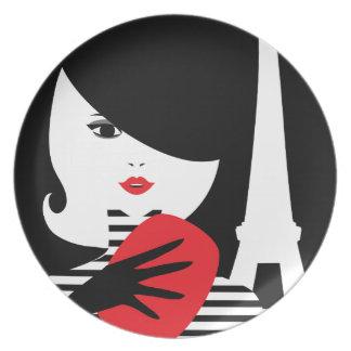 Fashion french stylish fashion illustration plate