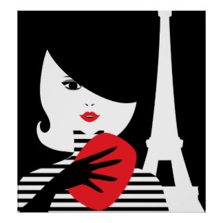 Fashion french stylish fashion illustration poster