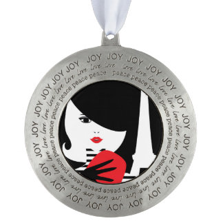 Fashion french stylish fashion illustration round pewter ornament