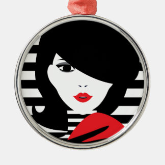 Fashion french stylish fashion illustration Silver-Colored round ornament